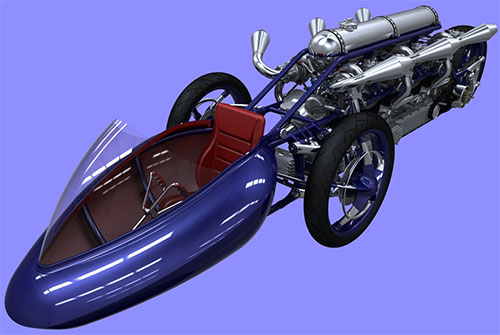 Cabina que flota sobre el asfalto, seguida de mucha, mucha potencia sobre 3 ruedas.